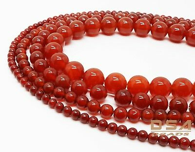 Red Carnelian Round Gemstone Loose Beads 4mm 6mm 8mm 10mm 15.5''  Red Agate  8mm Carnelian Beads