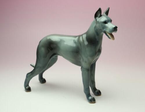 Blue Great Dane Porcelain Figurine Ceramic Standing Dog Japan NEW Reproduction