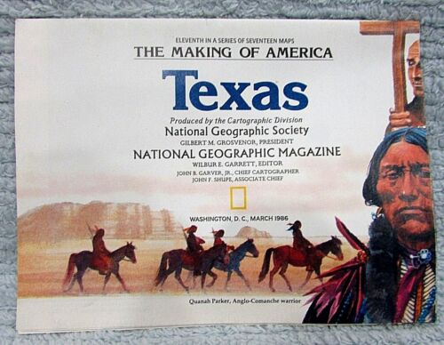 Old 1986 National Geographic Vintage Map Making of America Texas US FREE S/H