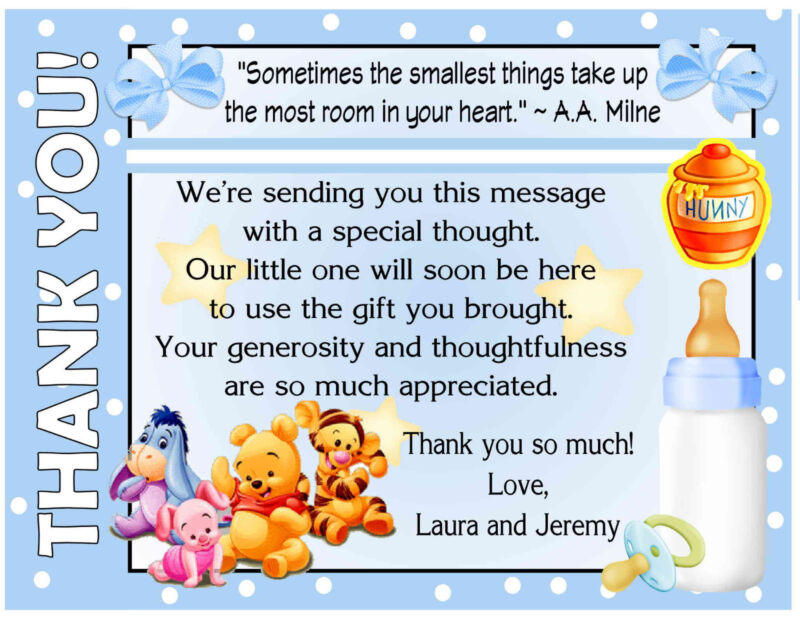 20 BLUE WINNIE THE POOH BABY SHOWER THANK YOU CARDS with envelopes