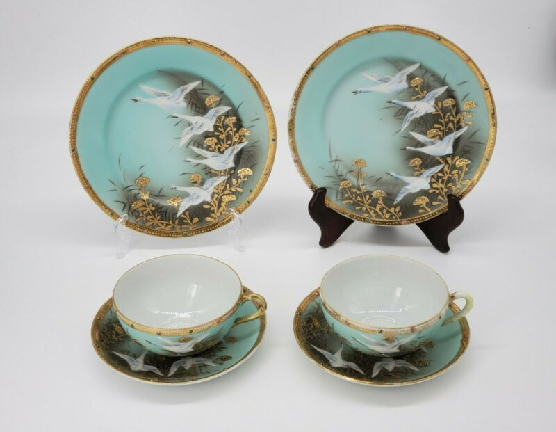 Set (6) Antique Nippon Japan Gold Gilt Flying Geese Jeweled Plates Cups Saucers