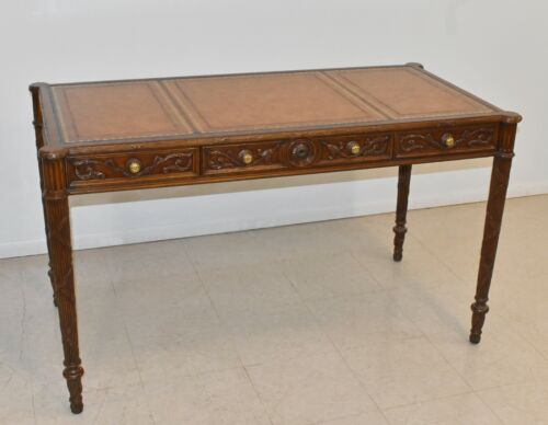 Maitland Smith Regency Style Writing Desk Leather Top