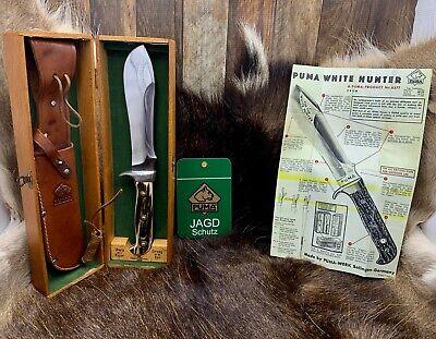 "Pre 1964 Puma 6377 White Hunter Knife Stag Handles Sheath Presentation Box ""A1"""