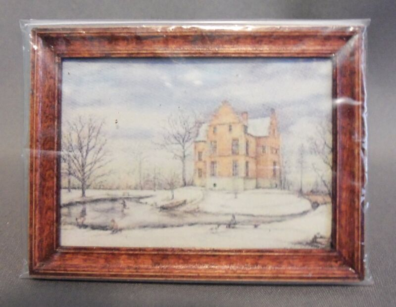 Dollhouse Miniature 1:12 Scale Framed Picture -- House Scene
