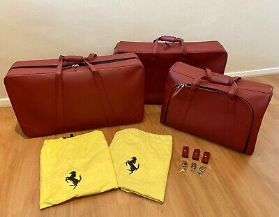 FERRARI 550 MARANELLO SCHEDONI RED LEATHER LUGGAGE SET | 3 PIECES |  SUITCASES