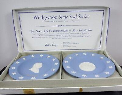 Pair Wedgwood Blue Jasper State Seal Series Josiah Barttlett & New Hampshire MIB