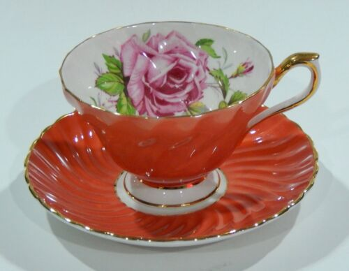 AYNSLEY PINK CABBAGE ROSE CUP & SAUCER on SALMON ORANGE Background SWIRL Shape