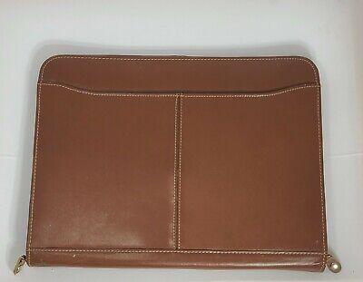 Leeds Brown Leather Notepaf Organizer Binder Folder Padfolio 13.5x10