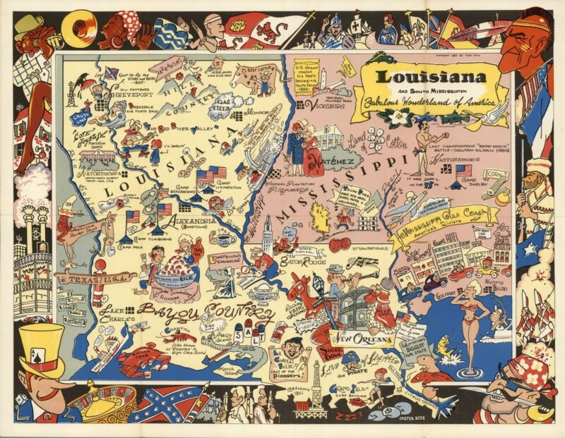1951 pictorial map Louisiana Mississippi Fabulous Wonderland America POSTER 8750
