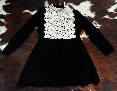 NWT ASOS Black Silk Velvet Dress w/White Lace Collar Bib Gucci 1970 Yves Vintage