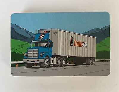 Vintage Transcon Trucking Lines Freightliners Semi Tractor Trailer Playing Cards