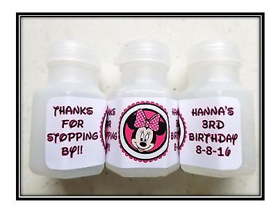 30 Minnie Mouse Birthday Bubble labels Stickers Party Favors HOT PINK (Bubble Birthday Party)