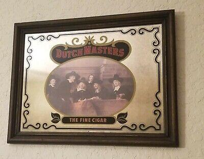 "VINTAGE DUTCH MASTERS "" THE FINE CIGAR "" FRAMED GLASS ADVERTISING MIRROR"