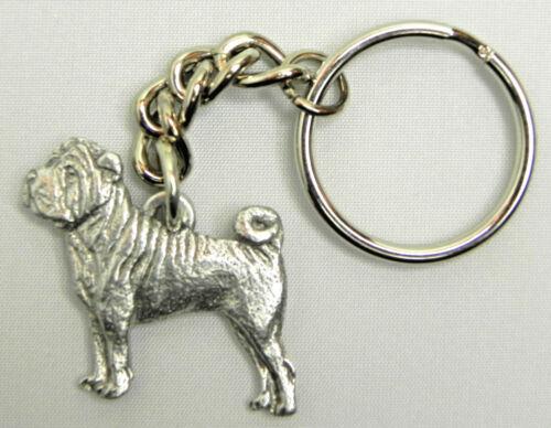 Shar Pei Dog Keychain Keyring Harris Pewter Made USA Key Chain