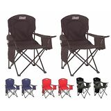 2) Coleman Camping Outdoor Oversized Quad Folding Chairs w/ Cooler & Cup Holders