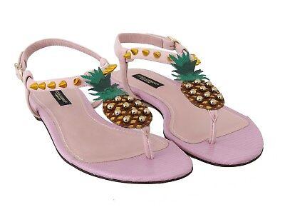 DOLCE & GABBANA Shoes Pink Leather Pineapple Flip Flops s. EU37 / US6.5 RRP $920