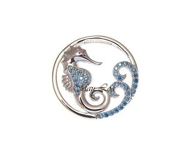 925 Sterling Silver Blue Topaz Hawaiian Seahorse Ocean Wave Slider Pendant