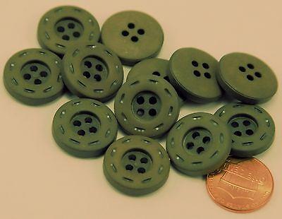 """12 Matte Dark Muted Green Plastic Buttons 3/4"""" 19MM # 6296"""