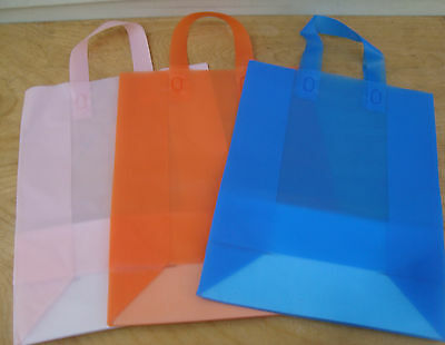Frosted Plastic Shopping Bags Retail Merchandise Gift Party Tote LOT Bulk Medium (Tote Bags Bulk)