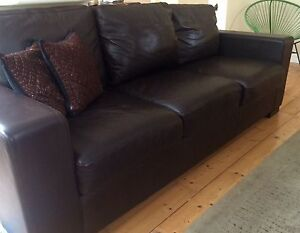 Chocolate leather 3 seater Northbridge Willoughby Area Preview