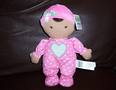 Nwt Carters Child Of Mine My First Doll Pink Heart Sleeper Plush Rattle Baby Toy