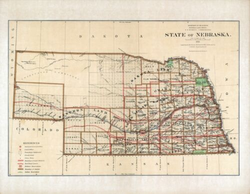 1876 Department Interior MAP State of Nebraska Geographical political 9