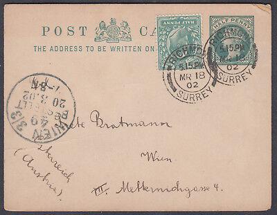1902 QV 1/2d Stat.PC uprated KEVII 1/2d,Richmond/Surrey CDS: Wien,Mixed Franking