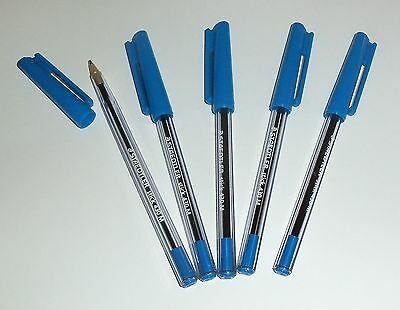 5 x Staedtler Stick Ballpoint Pen Medium Blue 430-M3