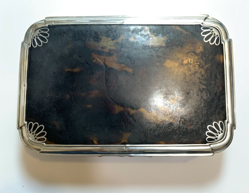 Antique RARE Charles & Richard Comyns Victorian Silver Tortoise Shell Lidded Box