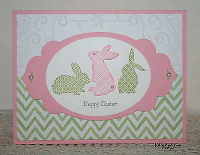 Bunny Trio GREETING CARD KIT ~Lot of 4~ Stampin Up Ears to You Happy Easter