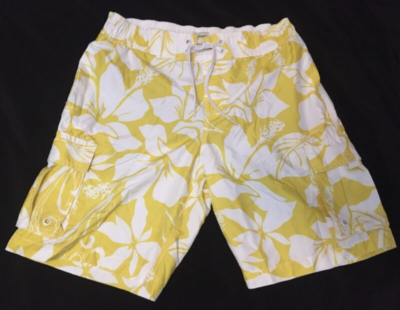 Mens Yellow Floral Board Shorts Medium Old Navy Summer Beach Wear With Pockets