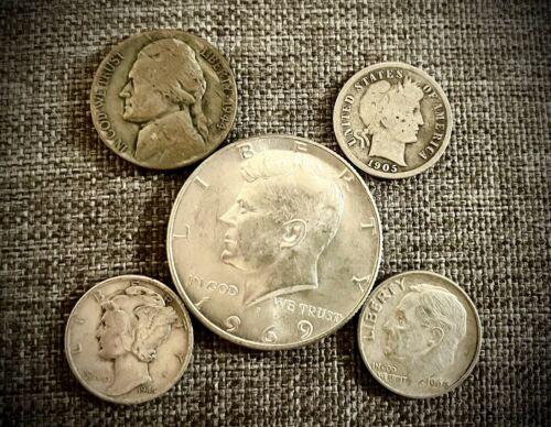 Best  US SILVER COIN COLLECTION LOT - 5 SILVER COINS TOTAL