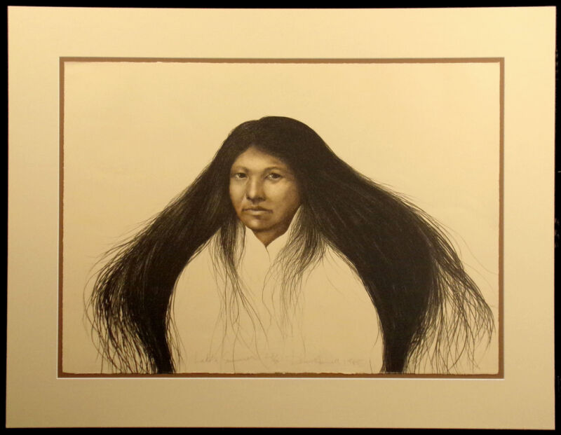 "Frank Howell ""Lakota Summer (b&w state)"" Signed & Numbered Lithograph Art matted"