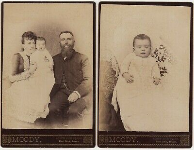 2 Antique Cabinet Photographs by Moody of Red Oak Iowa United States 1887, used for sale  Shipping to South Africa