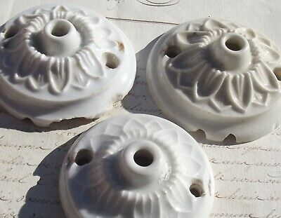 Lot of Antique French Porcelain Ceiling Roses 1940s Light Fitting China