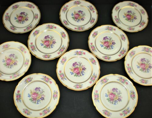 """PAIR Castleton Rose China Bread Butter Plates Made in USA Gold Verge Trim 6.5"""""""