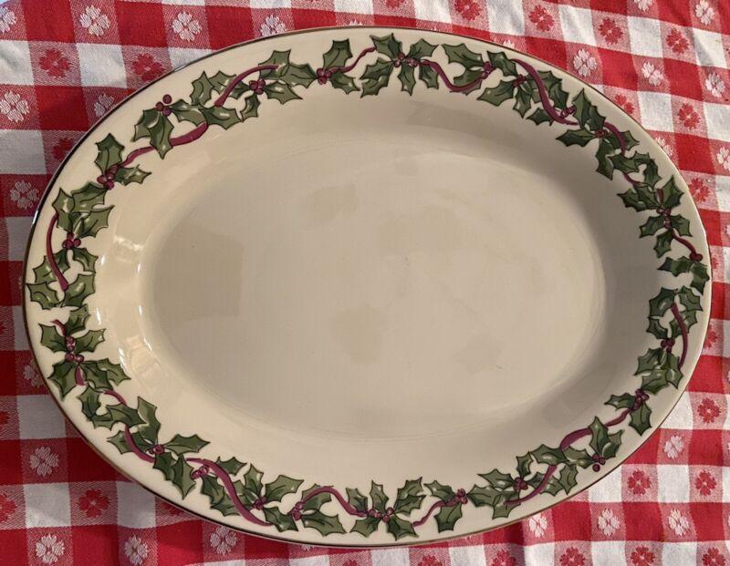 Vintage Workshops of Gerald HENN Pottery Christmas Holly Leaves & Ribbon Platter