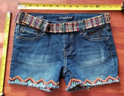 NEW Vigoss Girls Youth Denim Shorts Indian theme Embroidered Sz 14