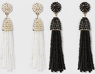 NWT Baublebar Tassel Earrings Elegant Black & White Set For Prom Spring Formal - Elegant Black Tassel