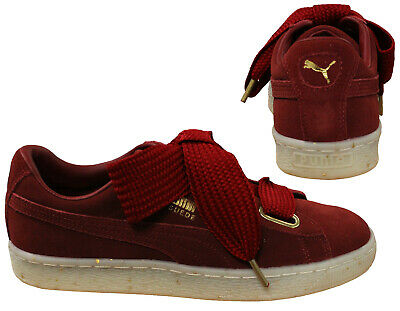 Puma Suede Heart Celebrate Lace Womens Low Top Trainer Red Dahlia 365561 02 B97A