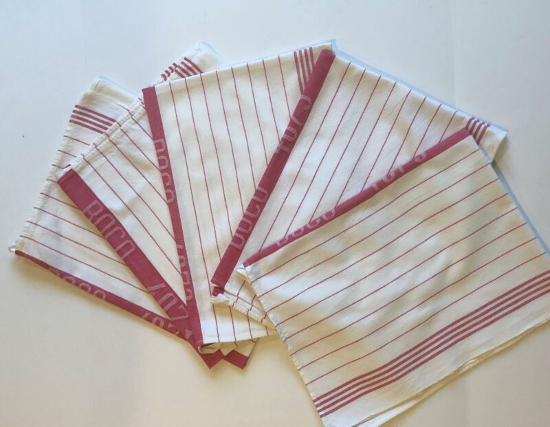5 Antique Red STripe Tea Torchons Linen Large Hotel Bath Towels with Loops A13F