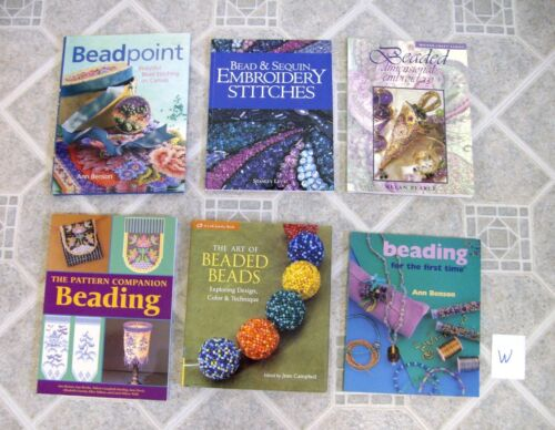 Lot W - 6 Beading Books - Embroidery, Dimensional, Beaded Beads, Patterns