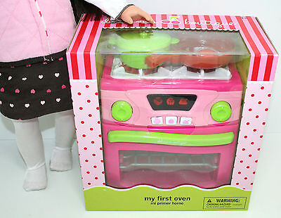 """Working STOVE * OVEN * KITCHEN Pot Pan fits American Girl 18"""" Doll New"""
