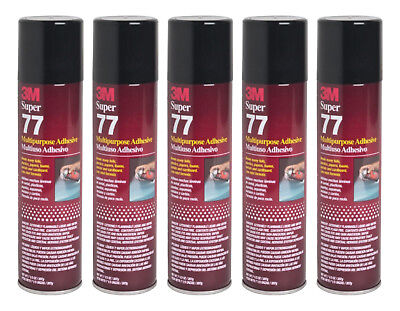 Qty5 3m Super 77 7.3oz Spray Glue For Foil Plastic Paper Foam Metal Fabric