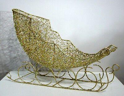 Schlitten 55cm lang,Metall gold-glitter,  Weihnachtsdekoration ()