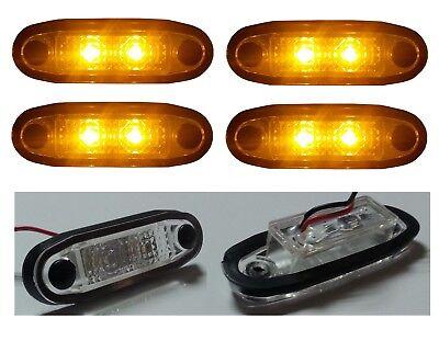 8X 12V//24V LED White Amber Red Front Indicator Truck Trailer Side Marker Lights