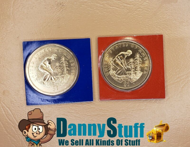 2009 P D Native American Sacagawea BU Satin Dollars US Cello 2 Coin Set Free S/H