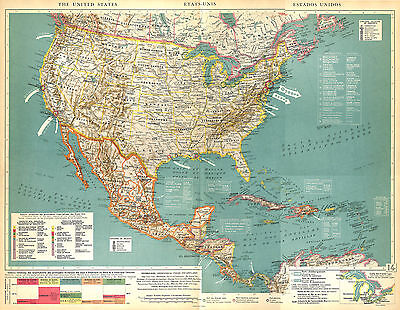 Big Size Physical Map Card Atlas 1950: North America United States USA Mexico