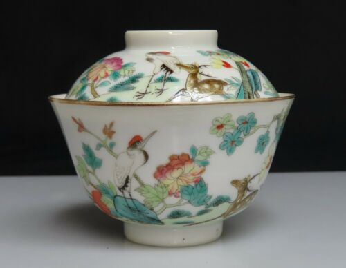 Chinese Famille Rose Porcelain Rice Bowl & Cover -  80421