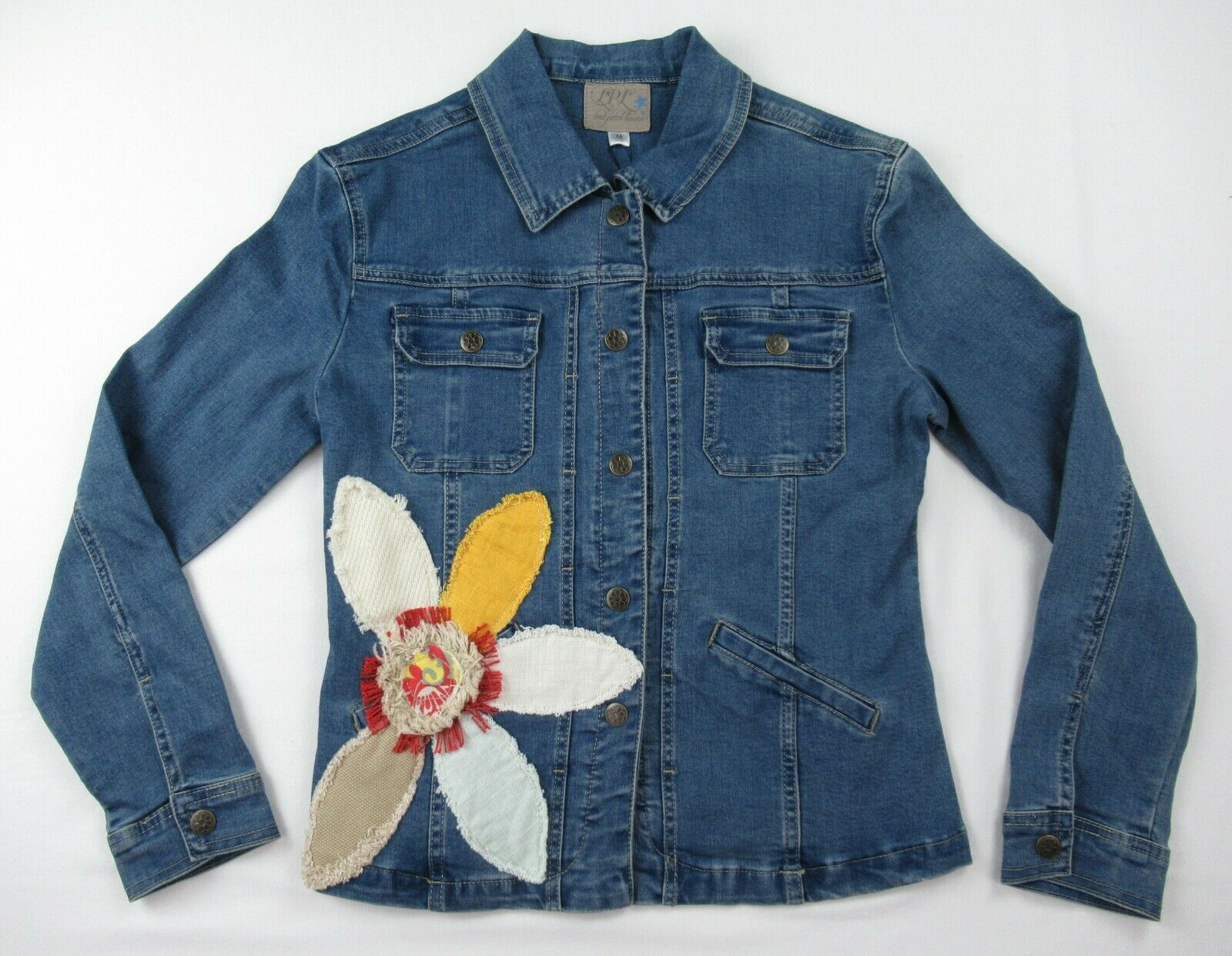 women s flower denim jacket size m